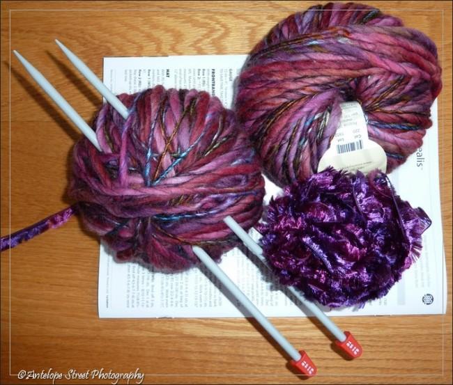 purple wool needles