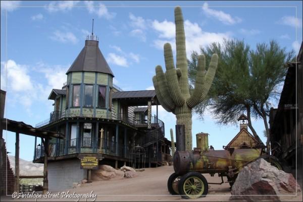 ghost town buildings cactus