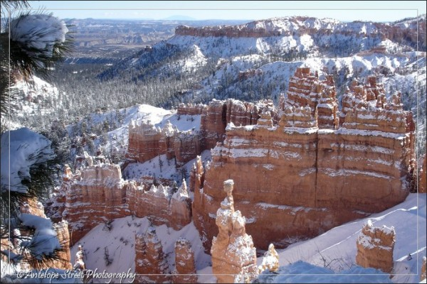 snow winter red cliffs Utah