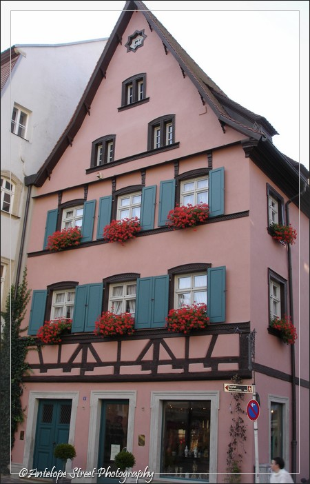 Germany pink red flower boxes