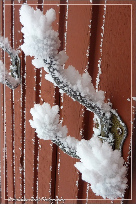 heavy frost on coat hook Alberta