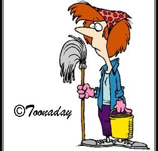 woman mop bucket